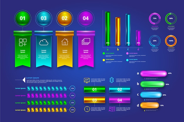 Colorful 3d glossy infographic pack
