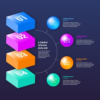 Colorful 3d glossy infographic