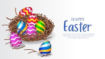 イースターのためのカラフルな3Dグループの卵の装飾
