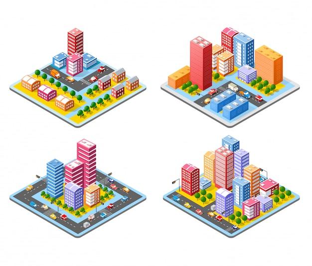 화려한 3d 아이소 메트릭 도시