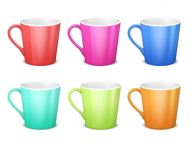 Colorful 3d mugs, empty coffee ceramic cup isolated  collection