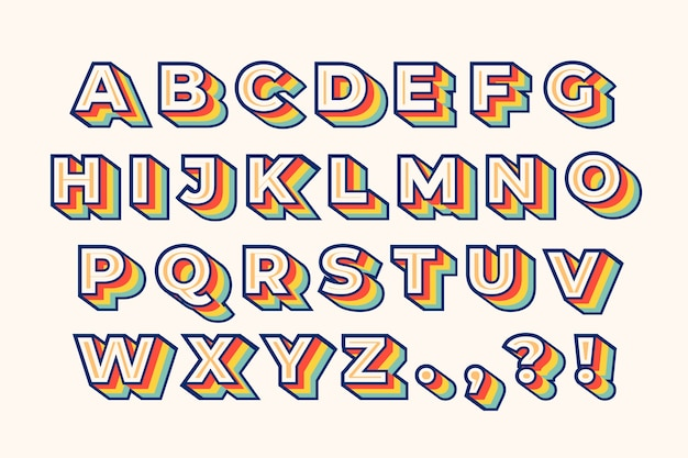 Colorful 3d retro alphabet
