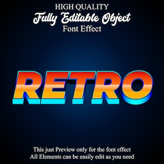 Colorful 3d retro text style editable font effect