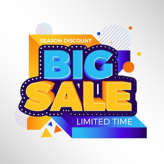 Colorful 3d sales background concept