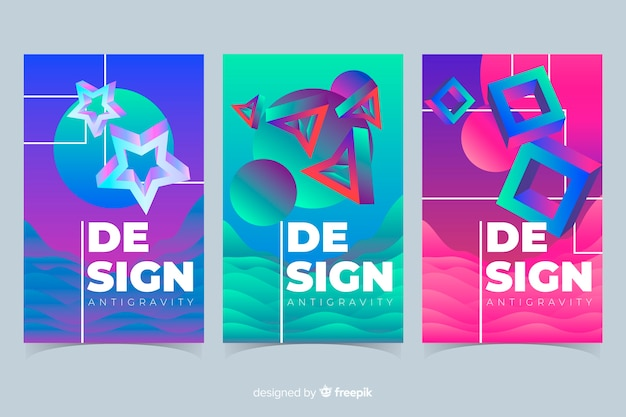 Colorful 3d shapes floating cover collection