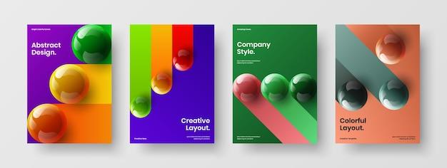 다채로운 3d 분야 전단지 레이아웃 컬렉션