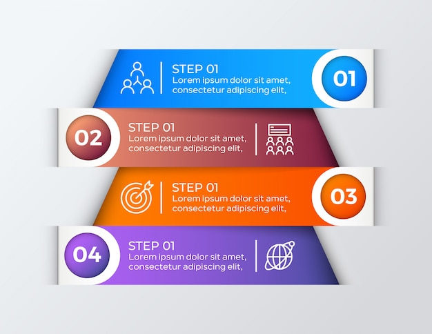 Colorful 4 steps business infographic
