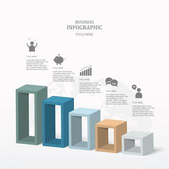 スライドテンプレートのカラフルな5箱のインフォグラフィック。