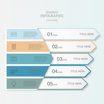 Colorful 5 element of triangle infographic template for business concept.