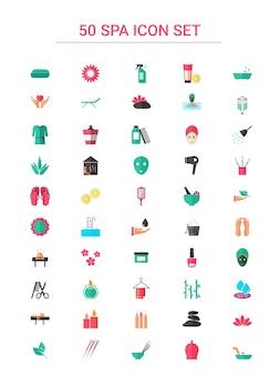 다채로운 50 스파 아이콘 플랫 스타일로 설정합니다.