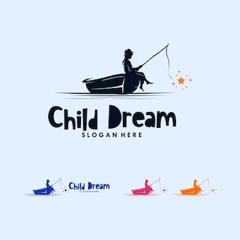 Красочный мальчик, ловящий рыбу, звездный дизайн логотипа