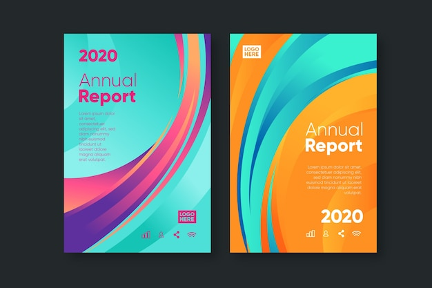 Colorful abstract annual report template collection