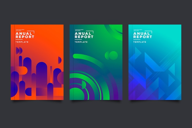 Colorful abstract annual report template set