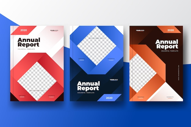 Colorful abstract annual report template with photo