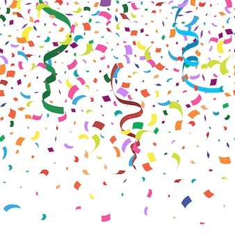 Colorful abstract background with many falling confetti pieces