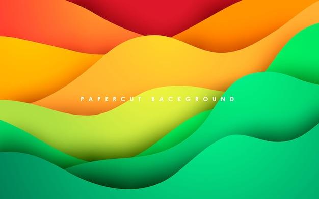 Красочный абстрактный фон в стиле papercut