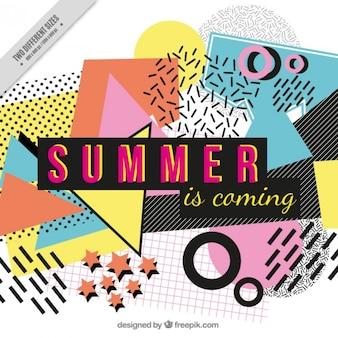 「夏は来れる「テキストとカラフルな抽象的な背景