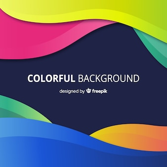 Colorful abstract background with wavy shapes