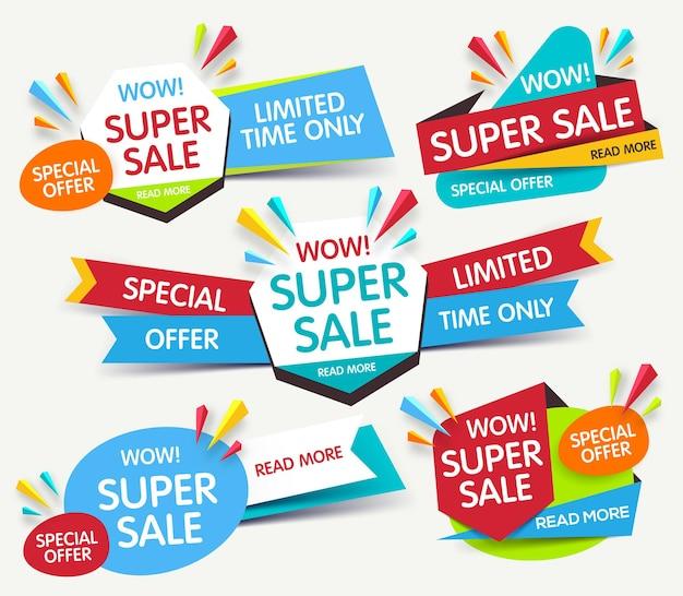 판매 및 할인에 대 한 설정하는 다채로운 추상적 인 배너