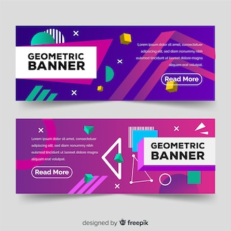 Colorful abstract banners with geometric shapes
