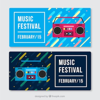 Colorful abstract banners with radio cassette