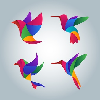 Colorful abstract bird symbol