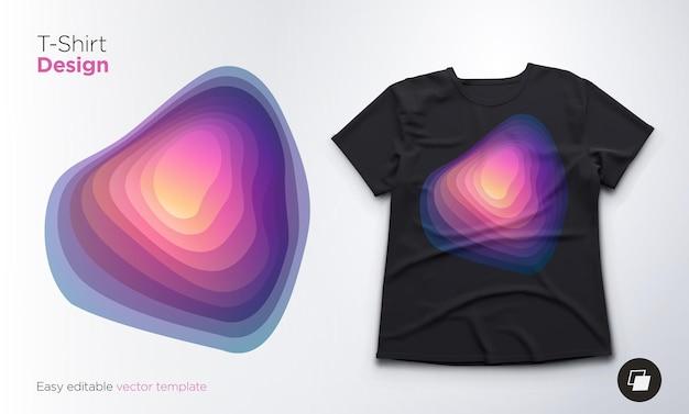 Tシャツのカラフルな抽象的なブレンド形状のデザイン