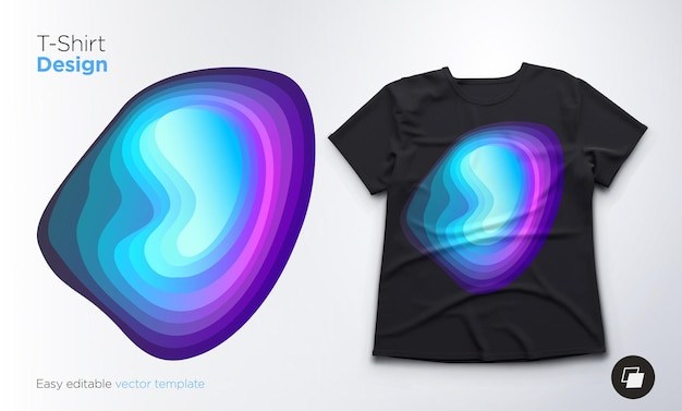 Colorful abstract blend shape design for t-shirts, sweatshirts or souvenirs. vector illustration