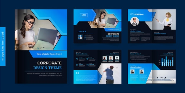 Colorful abstract business brochure design template modern and creative theme