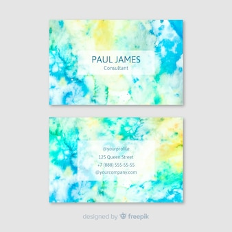 Colorful abstract business card in watercolor