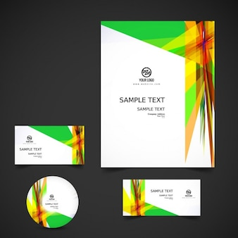 Colorful abstract business stationery