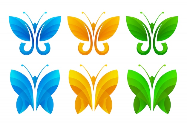 Colorful abstract butterfly icon set
