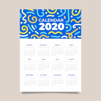 Colorful abstract calendar template.