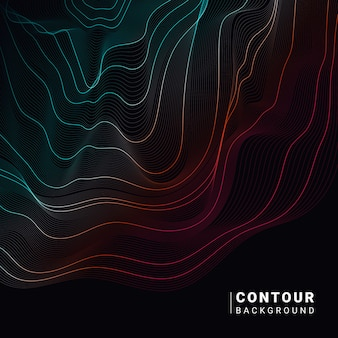 Colorful abstract contour lines illustration