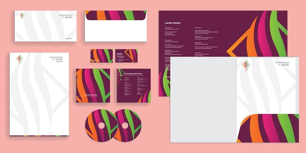 Colorful abstract curly wave lines modern corporate business identity stationary