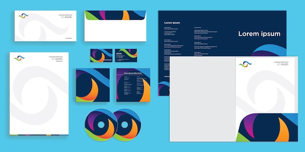 Colorful abstract curly wave modern corporate business identity stationary