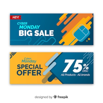 Colorful abstract cyber monday sale banner set