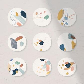 Collezione di badge dal design astratto colorato