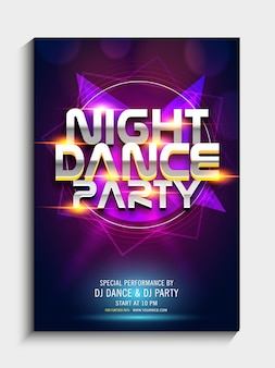 Colorful abstract design decorated, night dance party template, dance party flyer, night party banner or club invitation presentation with details.