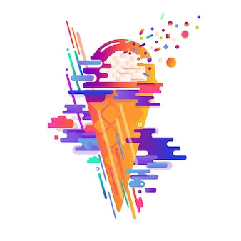 Colorful abstract design with ice cream, waffle cup.