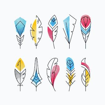 다채로운 추상적 인 깃털 세트입니다. 하프 톤 질감 밝은 선 기호.