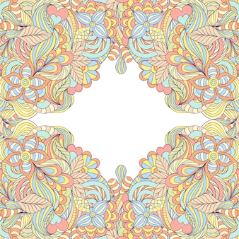 Colorful abstract floral frame.