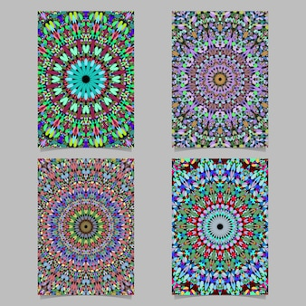 Colorful abstract floral mosaic mandala pattern poster background design set