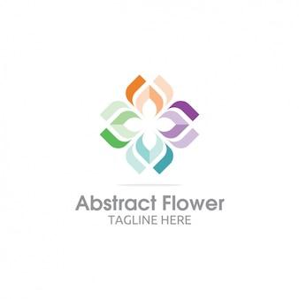 다채로운 추상적 인 꽃 로고