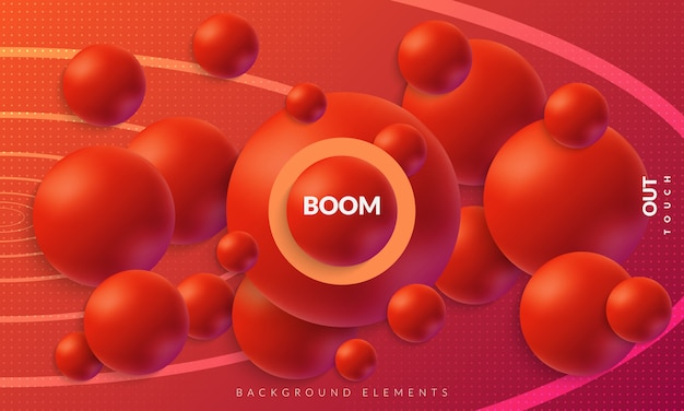 Colorful abstract fluid background with 3d spheres