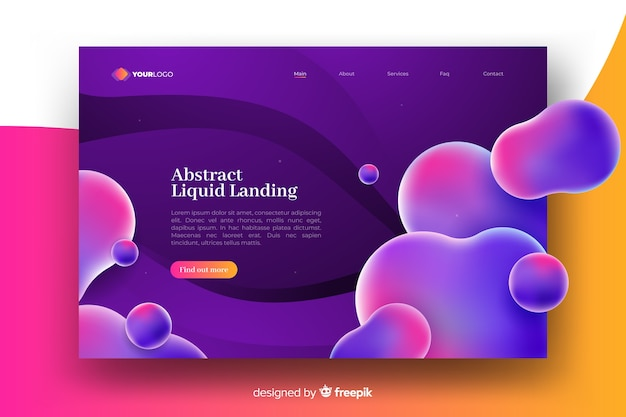 Colorful abstract fluid landing page