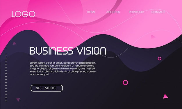 Colorful abstract fluid shape landing page