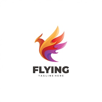 Colorful abstract flying bird wing logo