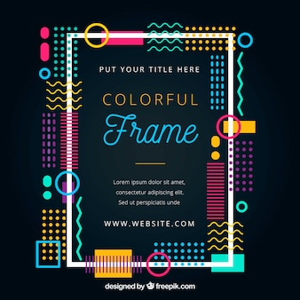 Colorful abstract frame in memphis style