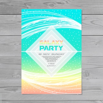 Colorful abstract galaxy party poster